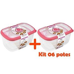 Kit Conjunto 6 Potes Herméticos Porta Alimentos Geladeira Cozinha Flor - 723 Sanremo