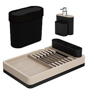 Kit Lixeira 2,8L Escorredor Louças Dispenser Porta Detergente Pia Cozinha Flat - Coza - Preto