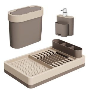 Kit Lixeira 2,8L Escorredor Louças Dispenser Porta Detergente Pia Cozinha Flat - Coza - Cinza