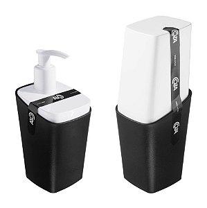 Kit Dispenser Porta Sabonete Líquido Porta Escova De Dente Square - Coza - Preto
