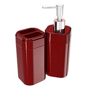 Conjunto Portas Escovas Dispenser Sabonete Líquido Banheiro Splash - 99096 Coza - Vermelho