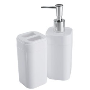 Conjunto Portas Escovas Dispenser Sabonete Líquido Banheiro Splash - 99096 Coza - Branco