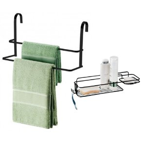 KIT Suporte Porta Toalha Duplo Toalheiro Box + Prateleira Aramado Shampoo Sabonete Banheiro Preto Fosco- Future