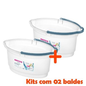 Kit 2 Balde Oval 14 Litros Limpeza Rodo Vassoura Lavanderia Plástico - Sanremo