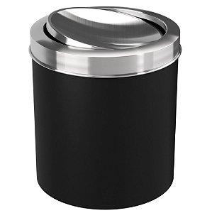 Lixeira 5,4 Litros Tampa Basculante Cesto De Lixo Banheiro - 10436 Coza - Preto