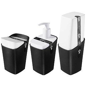 Kit Dispenser Sabonete Líquido Porta Escova De Dente Algodão Cotonete - Coza - Preto