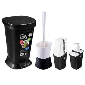 Kit Lixeira Pedal Tampa Escova Sanitária Dispenser Sabonete Líquido Porta Escova De Dente - Coza - Preto