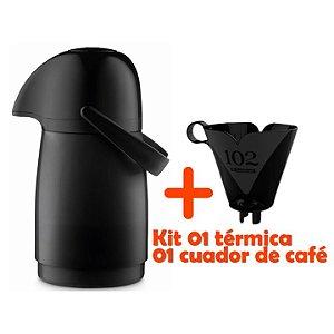 Kit Garrafa Térmica 500ml Pequena Infantil + Suporte Coador Filtro Café - Sanremo