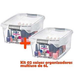 Kit 2 Caixa Organizadora 6l Multiuso Tampa Porta Utensílios Closet Armário Gaveta - Sanremo