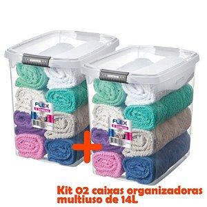 Kit 2 Caixa Organizadora 14l Multiuso Porta Utensílios Closet Armário Roupas - Sanremo