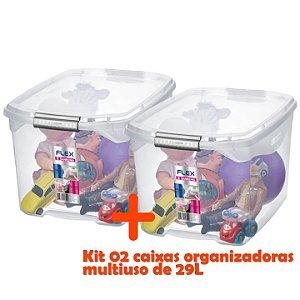 Kit 2 Caixa Organizadora 29l Multiuso Porta Utensílios Closet Roupas Brinquedo - Sanremo