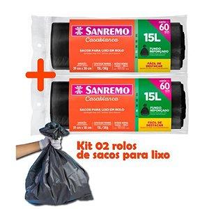 Kit Sacos Para Lixo 120un Em Rolo 15 Litros Reforçado Cozinha Lixeira Banheiro - Sanremo
