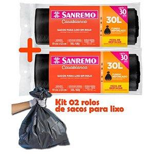 Kit Sacos Para Lixo 60un Em Rolo 30 Litros Reforçado Cozinha Lixeira Banheiro - Sanremo