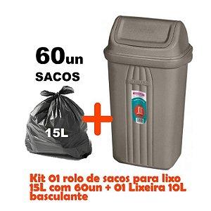 Kit Lixeira 10l Tampa Basculante + Sacos Para Lixo 60un Em Rolo Reforçado - Sanremo