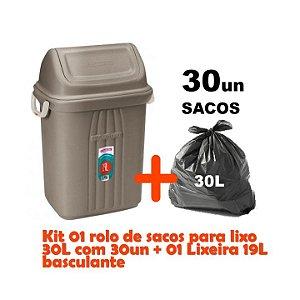 Kit Lixeira 19l Tampa Basculante + Sacos Para Lixo 30un Em Rolo Reforçado - Sanremo