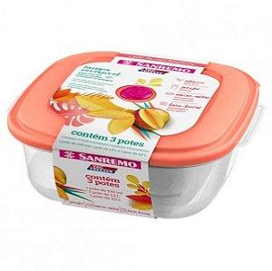 Conjunto 3 Potes Plásticos Alimentos Mantimentos Geladeira Cozinha - 460/2c Sanremo - Rosa
