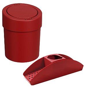 Kit Organizador Pia Porta Detergente Lixeira Click 5L Cesto Lixo Cozinha Vermelho - Coza