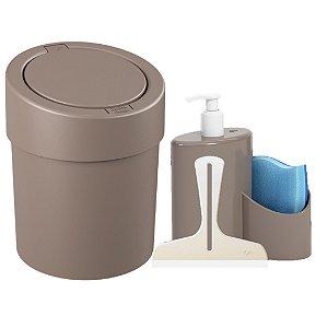 Kit Lixeira Click 5L Dispenser Detergente  Rodinho Abraço Pia Cozinha Cinza - Coza