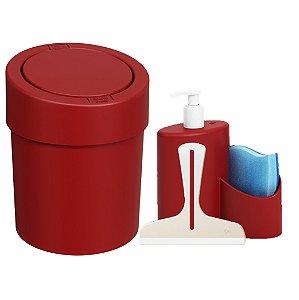 Kit Lixeira Click 5L Dispenser Detergente  Rodinho Abraço Pia Cozinha Vermelho - Coza