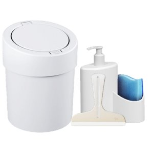 Kit Lixeira Click 5L Dispenser Detergente  Rodinho Abraço Pia Cozinha Branco - Coza