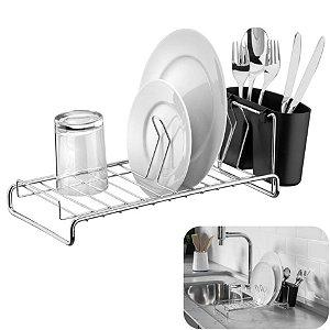 Escorredor De Louças Pratos Copos Talheres Cozinha Compacto Cromado - 984 Future