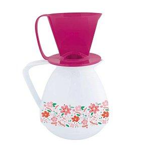 Conjunto Bule Térmico 650ml Amare Decorado Presente  + Suporte Coador Café - Mor - Branco