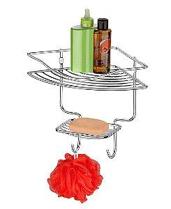 Porta Shampoo Sabonete Cantoneira Prateleira Banheiro Parede Cromado - 1026 Future