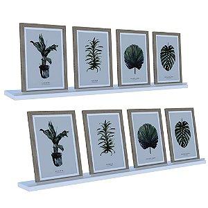 Kit 2 Prateleiras Madeira 90x9cm C/ Acrílico Porta Retrato Quadro Livro Parede - Dicarlo - branco
