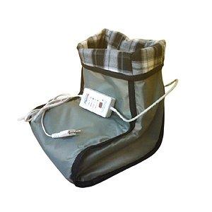 Bota Pantufa Térmica Elétrica Massageadora Aquece Pés Com Controle Digital - E902 Sonobel - 220v