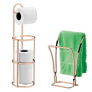 Kit Banheiro Porta Toalha Rosto + Suporte Papel Higiênico Rosé Cobre - Future