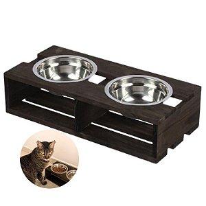 Suporte Comedor Pet Duplo Madeira Com 2 Potes Gato Cachorro - 1140 Stolf