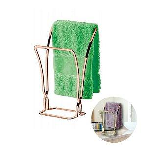 Porta Toalha de Bancada Toalheiro Duplo Rosé Gold 1608rg - Future