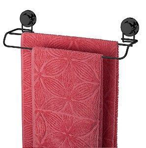 Porta Toalha Toalheiro Duplo Com Ventosa Preto Onix 4056ox - Future