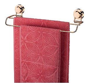 Porta Toalha Toalheiro Duplo Com Ventosa Rosé Gold 4056rg - Future