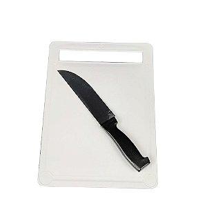 Jogo Tábua Corte Carne Legume Plástico Antiaderente Faca 6  Cozinha Facilitá - Taume - Preto