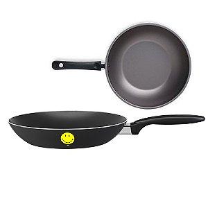Panela Frigideira Alumínio Smiley Ø20cm Antiaderente Para Ovos fogão Cozinha - Brinox - Preto