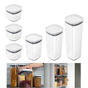 Kit 6 Potes Herméticos Porta Alimentos Mantimentos Com Tampa Cozinha Block - KTE 026 Ou - Branco