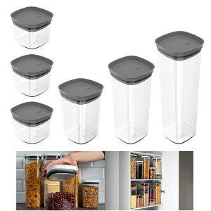 Kit 6 Potes Herméticos Porta Alimentos Mantimentos Com Tampa Cozinha Block - KTE 026 Ou - Chumbo