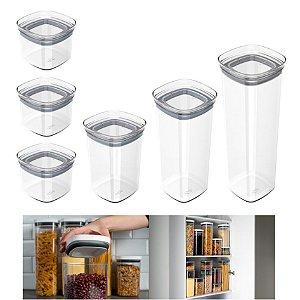 Kit 6 Potes Herméticos Porta Alimentos Mantimentos Com Tampa Cozinha Block - KTE 026 Ou - Natural