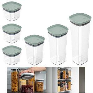 Kit 6 Potes Herméticos Porta Alimentos Mantimentos Com Tampa Cozinha Block - KTE 026 Ou - Verde Menta