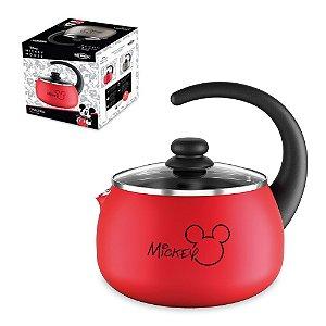 Chaleira Mickey Alumínio 2L Chá Café Com Tampa de Vidro térmica Cozinha - 7222/155 Brinox - Vermelho