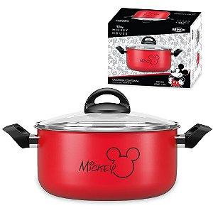 Panela Caçarola Mickey Alumínio 3,5L  Antiaderente Tampa Vidro Cozinha - 7222/364 Brinox - Vermelho