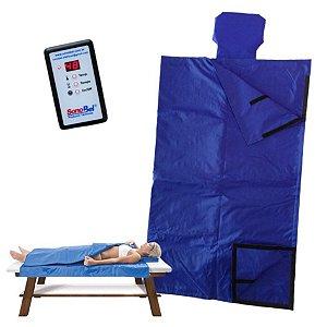 Manta Térmica Saco Dormir 1.80x1.80m Corpo Inteiro Estética Redutor Medida Digital AZUL - Sonobel - 110v