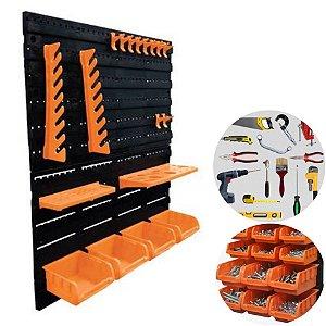 Kit 2 Painel Organizador Porta Ferramentas 18Pçs Gancho Caixa Parede Perfurado - A06304 Ajax