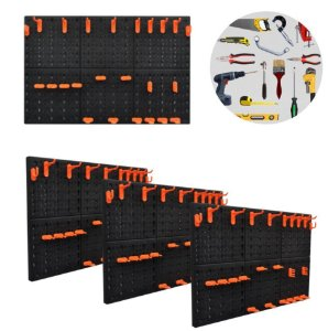 Kit 4 Painel Organizador Porta Ferramentas 72 Ganchos Parede Perfurado - A06302 Ajax