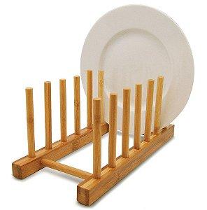 Suporte Display Porta 6 Pratos Bambu Bancada Cozinha Pia - Yoi