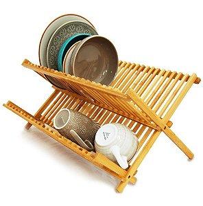 Escorredor Louças Bambu Porta Pratos Talheres Dobrável Pia - Yoi