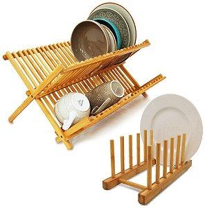 Kit Cozinha Bambu Escorredor De Louças Pratos + Suporte Display - Yoi