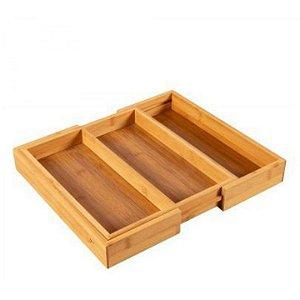 Organizador De Gaveta 2 Divisórias Porta Utensílios Talheres Ajustável Bambu Cozinha - Yoi