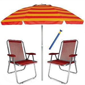 Kit Praia 2 Cadeira Max Alumínio + Guarda Sol 2,4m Alum + Saca Areia - Zaka - Vermelho